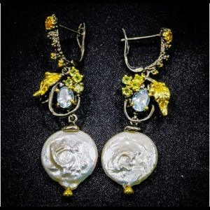 Artist created, stamped 925 Jewelry - Romantic Genuine Baroque Pearl Earrings with Gems